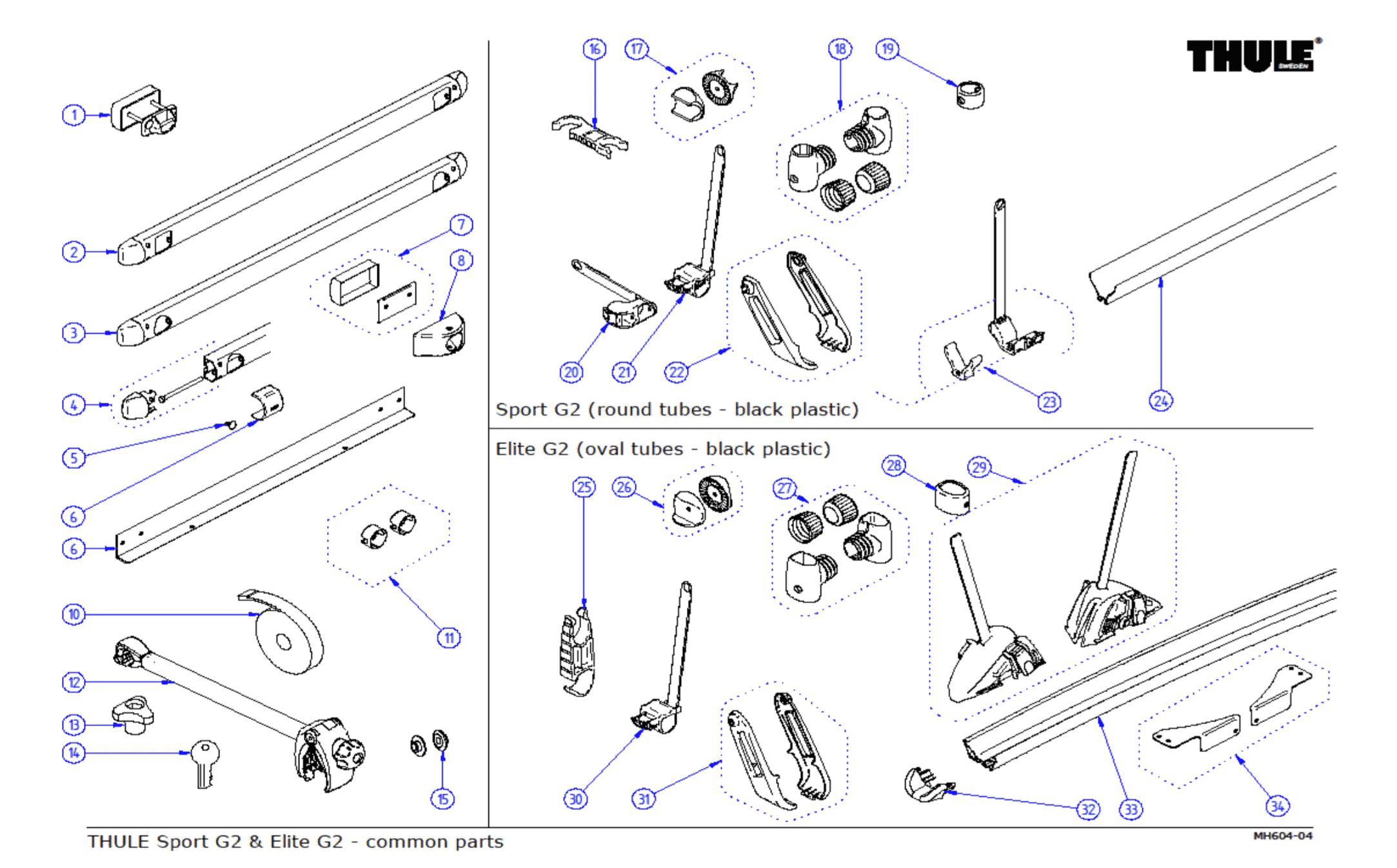 Thule Sport G2 & Elite G2 Common Parts